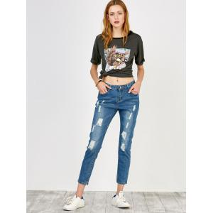 High Rise Distressed Jeans - BLUE S