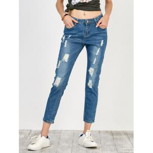 High Rise Distressed Jeans - Blue - L