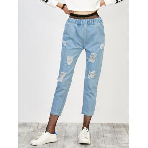 Elastic Waist Distressed Jeans - Light Blue - L