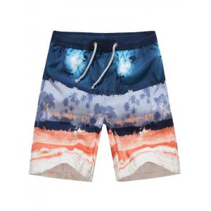 Color Block Printed Drawstring Board Shorts