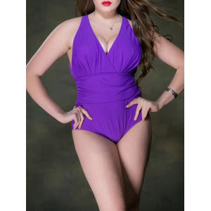 Plus Size Ruched Plunge Backless One Piece Swimsuit