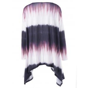 Plus Size Tie Dye Long Sleeve Ombre Asymmetrical T-Shirt -