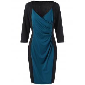 Plus Size Mid Length Pencil Surplice Dress - Blue And Black - 3xl