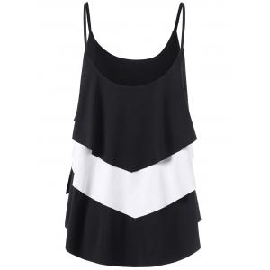 Layered Two Tone Tank Top - WHITE/BLACK M