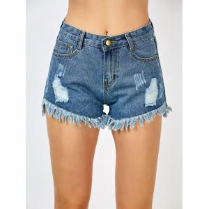 High Rise Distressed Cut Off Shorts - BLUE S