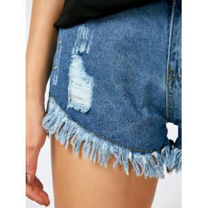 High Rise Distressed Cut Off Shorts - BLUE 2XL