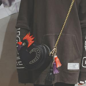 Chicken Shaped Tassel Crossbody Bag - Black