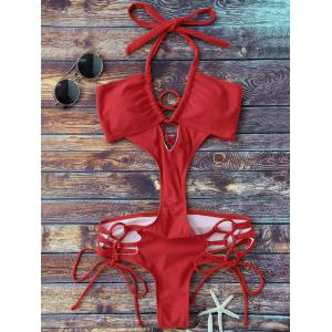 Lace Up Cut Out One Piece Monokini Swimsuit