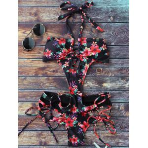 Lace Up Floral Monokini One Piece Swimsuit