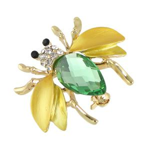Faux Gem Rhinestone Insect Brooch - GOLDEN