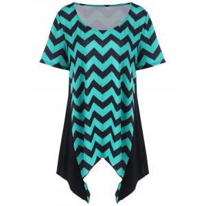 Scoop Neck Plus Size Zigzag Asymmetrical Tunic