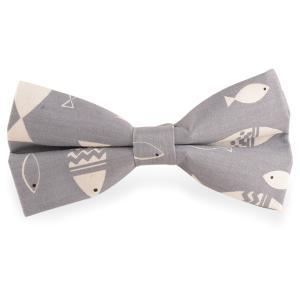 Brief Strokes Fish Print Bow Tie - Gray - S