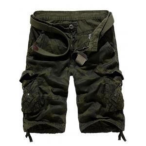 Zipper Fly Camouflage Stud Embellished Cargo Shorts - Army Green - 36