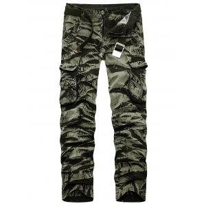 Zipper Fly Multi Pockets Slimming Cargo Pants - Army Green Camouflage - 40