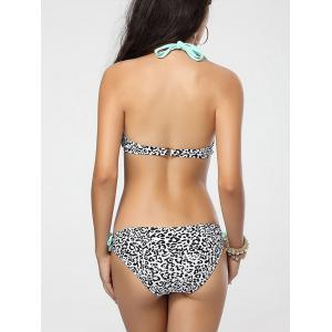 Halter Leopard String Bikini - LIGHT GREEN L