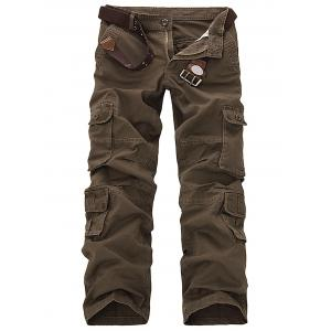 Pockets Design Slimming Cargo Pants - Coffee - 31
