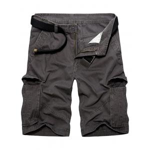 Multi Pockets Zipper Fly Cargo Shorts - Deep Gray - 30