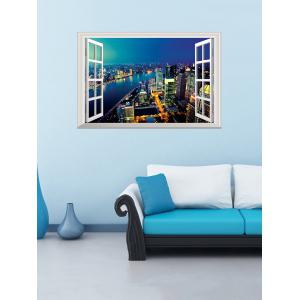 Removable 3D Night City Fake Window Wall Sticker