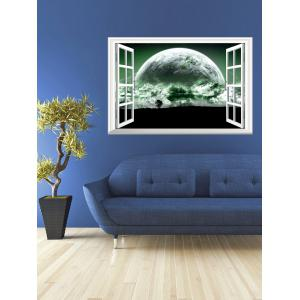Removable 3D The Planet Fake Window Wall Sticker - Green - 50*70cm