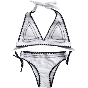 Halter Bowknot Embroidered Bikini Set - WHITE M