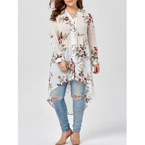 Chiffon Floral Plus Size Top - White - 2xl
