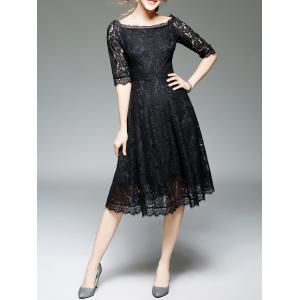 Off Shoulder Lace Knee Length A Line Swing Party Dress With Sleeves - BLACK 2XL