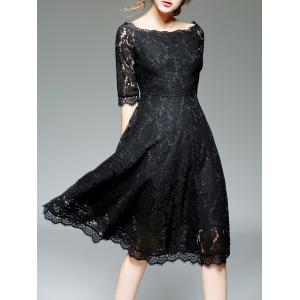 Off Shoulder Lace Knee Length A Line Swing Party Dress With Sleeves - Black - 2xl