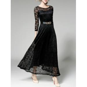 Prom Maxi Wedding Evening Dress with Lace - Black - M