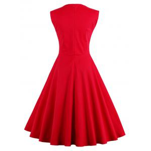 Sweetheart cou sans manches Pin Up Dress - Rouge L