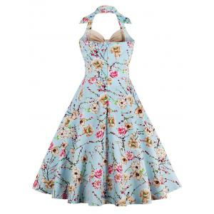 Halter Neck Floral Pin Up A Line Dress - Abricot S