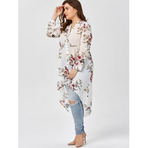 Chiffon Floral Plus Size Top - WHITE 4XL
