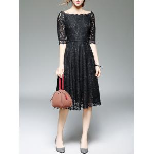 Off Shoulder Lace Knee Length A Line Swing Party Dress With Sleeves - BLACK XL