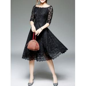 Off Shoulder Lace Cocktail Knee Length A Line Swing Party Dress With Sleeves - BLACK 2XL