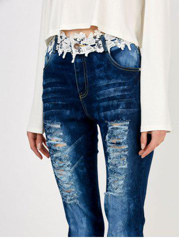 Hot Distressed Floral Lace Panel Jeans - M BLUE Mobile