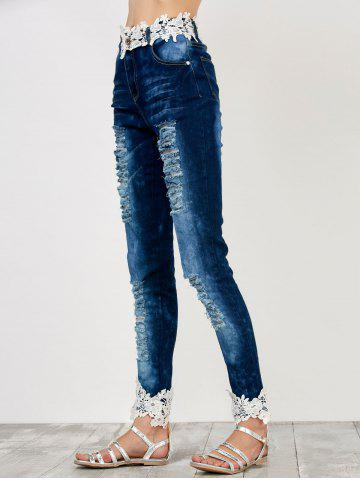 Chic Distressed Floral Lace Panel Jeans - M BLUE Mobile