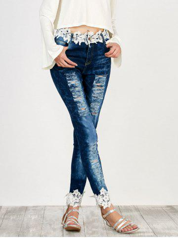 Distressed Floral Lace Panel Jeans Bleu M