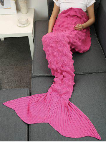 Fils tricoté Wrap Throw Mermaid Tail Blanket Rose Rouge
