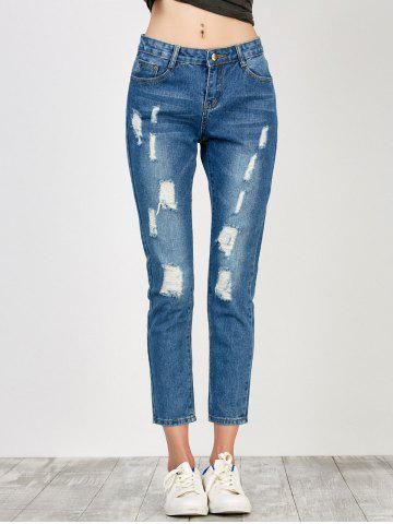 Discount High Rise Distressed Jeans - S BLUE Mobile