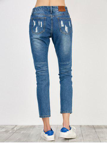 Fancy High Rise Distressed Jeans - S BLUE Mobile
