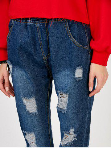 Hot Elastic Waist Distressed Jeans - S DEEP BLUE Mobile