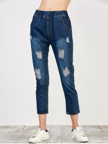 Outfit Elastic Waist Distressed Jeans - S DEEP BLUE Mobile