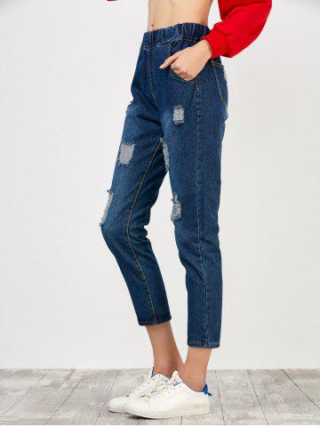 Online Elastic Waist Distressed Jeans - S DEEP BLUE Mobile