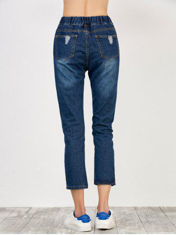 Discount Elastic Waist Distressed Jeans - S DEEP BLUE Mobile