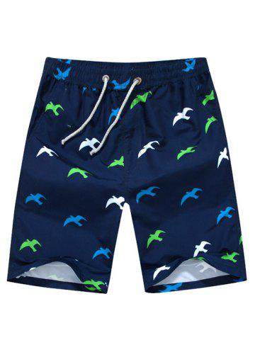 Chic Seagull Printed Drawstring Board Shorts - L CADETBLUE Mobile