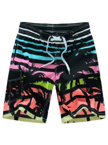 Latest Coconut Tree Print Striped Board Shorts - XL COLORMIX Mobile