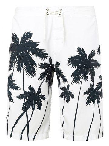 Shops Tie Front Coconut Tree Print Shorts - 2XL WHITE Mobile