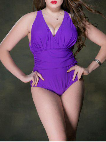 Plus Size Ruched Plunge Backless One Piece Swimsuit - Purple - 3xl