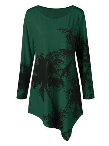 Sale Long Sleeve Plus Size Palm Print Asymmetrical T-Shirt