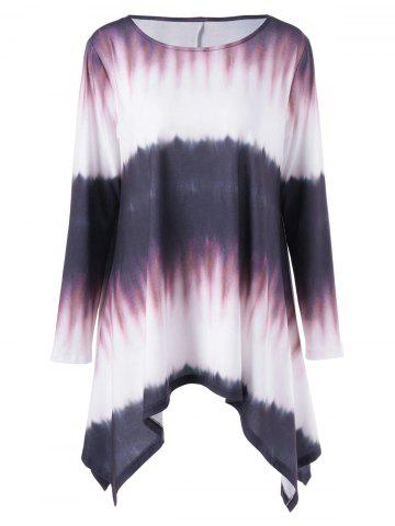 New Plus Size Tie Dye Long Sleeve Ombre Asymmetrical T-Shirt