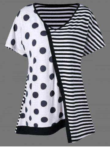 Plus Size Striped with Polka Dot T-Shirt - White And Black - Xl